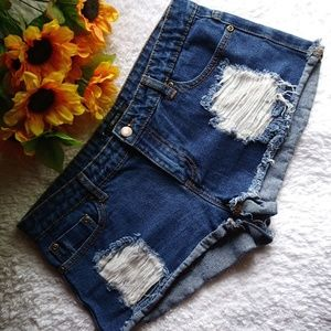 Forever 21 Jeans - Destroyed Blue Denim Jean Shorts Daisy Duke - 28